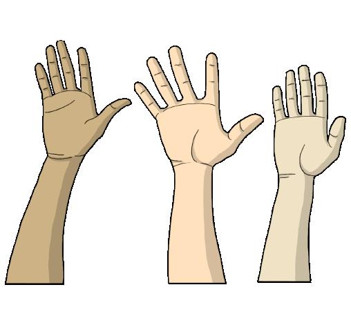 """icona disegnata di mani alzate per sezione """"servizio civile"""""""