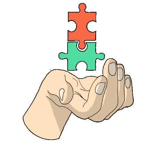 """icona disegnata di una mano con 2 pezzi di puzzle per sezione """"partner"""""""