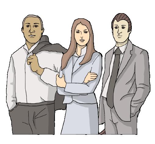 """Icona disegnata con 3 manager a mezzo busto per sezione """"aziende"""""""