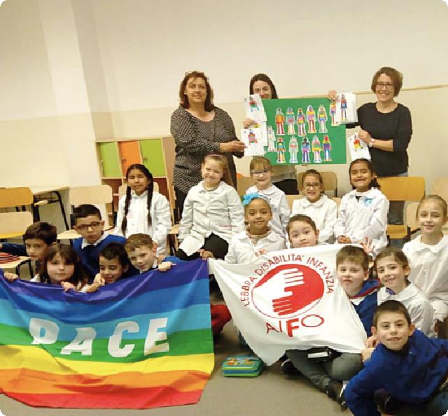 """immagine di copertina per la sezione """"attività educative"""" con bambini della scuola con bandiera della pace e bandiera AIFO"""