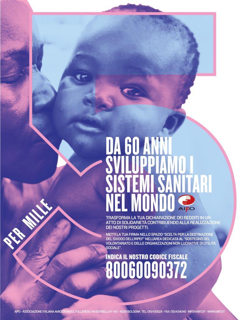 """Campagna stampa """"da 60anni sviluppiamo i sistemi sanitari nel mondo"""" per il 5x1000"""