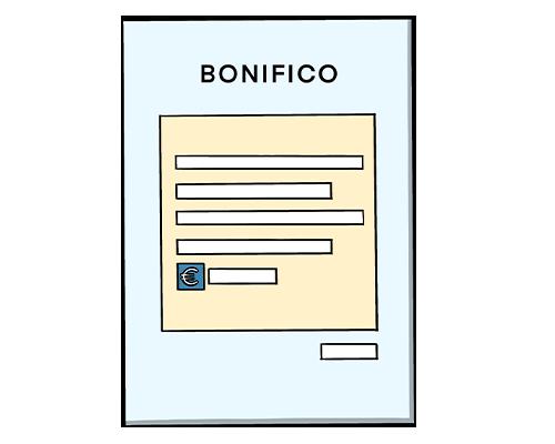 icona disegnata del modulo di bonifico per le donazioni