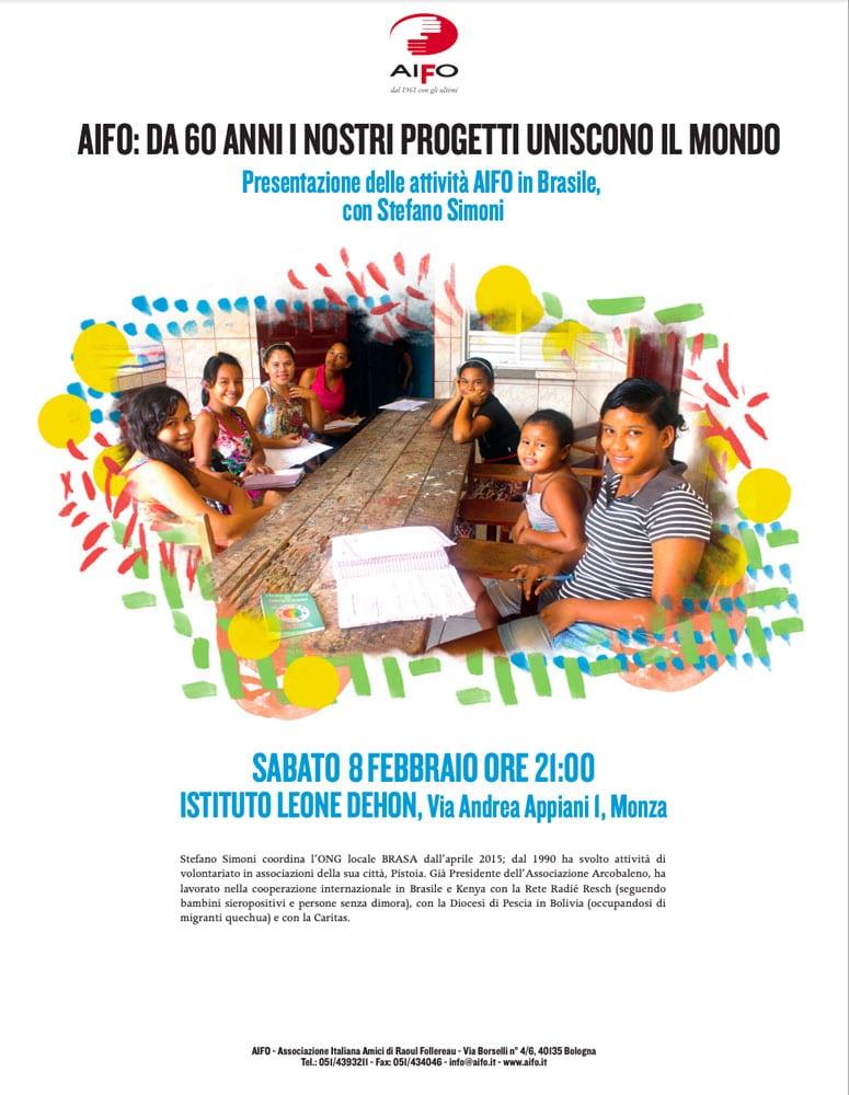 Poster di presentazione delle attività di AIFO in Brasile. Sabato 8 febbraio a Monza