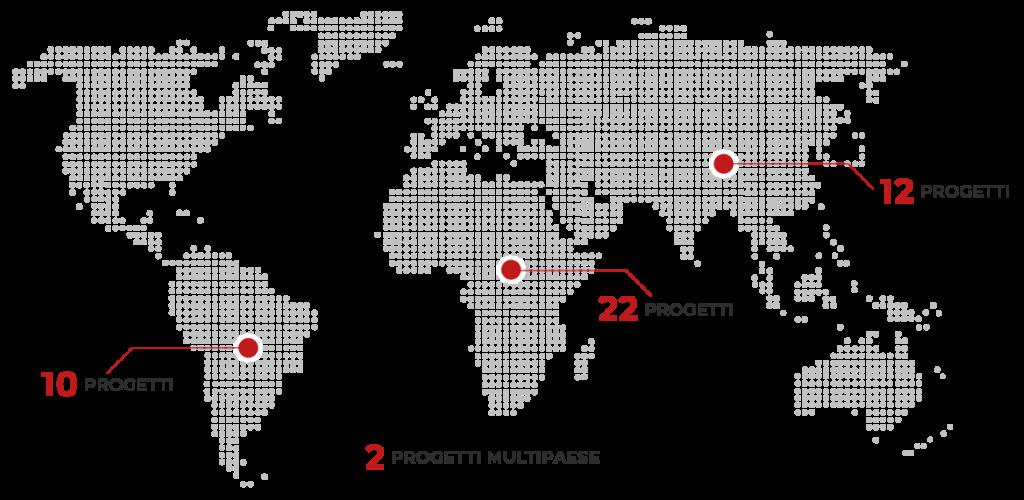 Mappa dei progetti AIFO nel mondo: 10 progetti nel sud America, 22 progetti in Africa, 12 progetti in Asia. 2 progetti multipaese